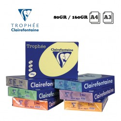 CLAIREFONTAINE TROPHEE A4 LIGHT COLOURS COPY PAPER 80GR OR 160GR - 250 OR 500 SHEETS