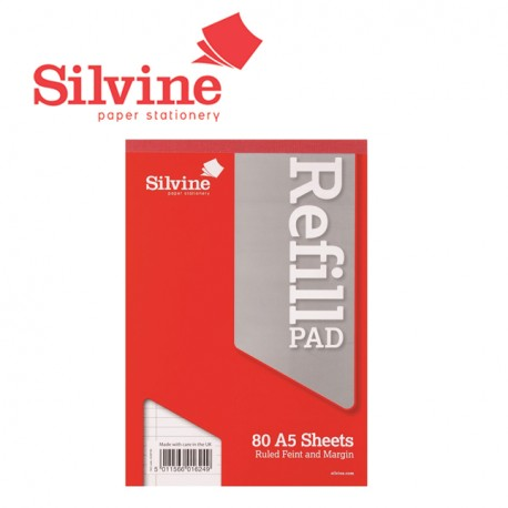 SILVINE REFILL PAD A5 - 160 pages - 80 sheets