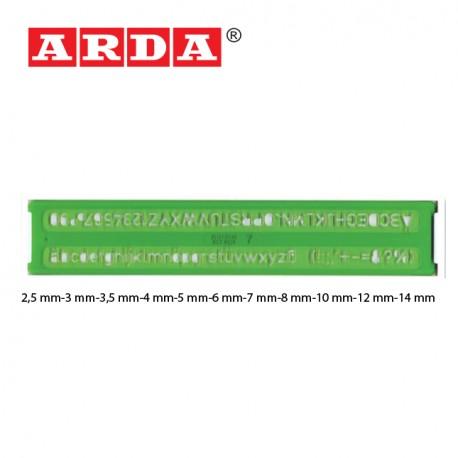 ARDA LETTERING STENCILS  -  2,5mm/3mm/3,5mm/4mm/5mm/6mm/7mm/8mm/10mm/12mm/14mm