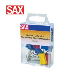 SAX BINDER CLIPS - Pack of 6 assorted colours