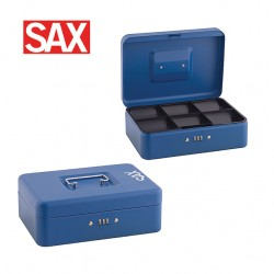 SAX CASH BOX with Combination Lock - 25x18x9cm Blue