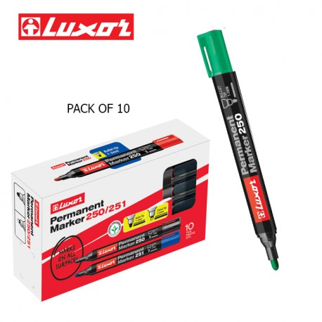 LUXOR PERMANENT MARKERS - GREEN - PACK OF 10