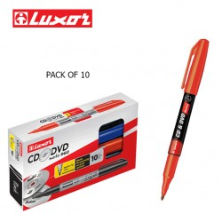 LUXOR CD/DVD MARKERS - RED - PACK OF 10