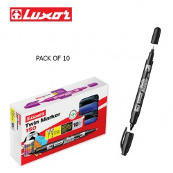 LUXOR TWIN MARKERS - BLACK - PACK OF 10