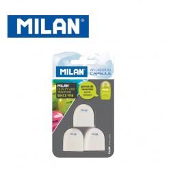 Milan Blister of 3 refill erasers for Capsule Sharpener & Eraser