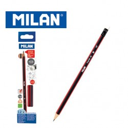 Milan Pencils - Box of 12 HB triangular graphite pencils with Eraser