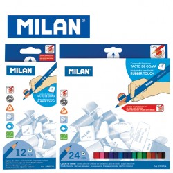 Milan Colour Pencils - Box of 12 or 24 triangular colour pencils with Rubber Touch
