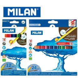 Milan Colour Pencils - Box of 12 or 24 triangular water-based colour pencils + FREE Brush