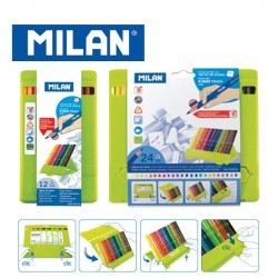 Milan Colour Pencils - Polypropylene Box of 12 or 24 triangular colour pencils with Rubber Touch