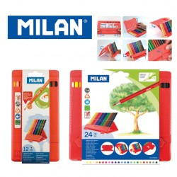 Milan Colour Pencils - Polypropylene Box of 12 or 24 triangular colour pencils