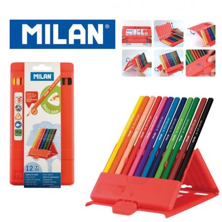 Milan Colour Pencils - Polypropylene Box of 12 or 24 triangular colour pencils