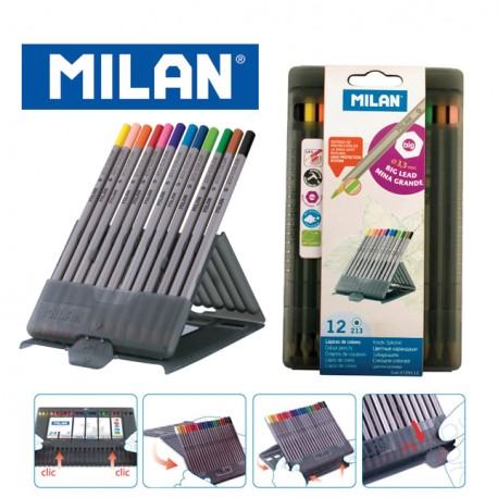 Milan Colour Pencils - Box of 12 MAXI triangular colour pencils + FREE Sharpener