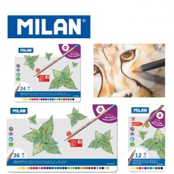 Milan Colour Pencils - Box of 12 MAXI triangular colour pencils + FREE Sharpener