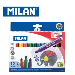 Milan Fibrepens - Box of 12 MAXI tip water-based fibrepens