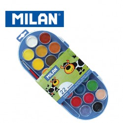 Milan Paints - Set of 22 Watercolour Tablets 30mm with Brush