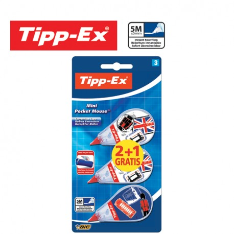 Tipp-Ex Mini Pocket Mouse Correction Tape 5mm x 5m - 2+1 FREE with decorated body